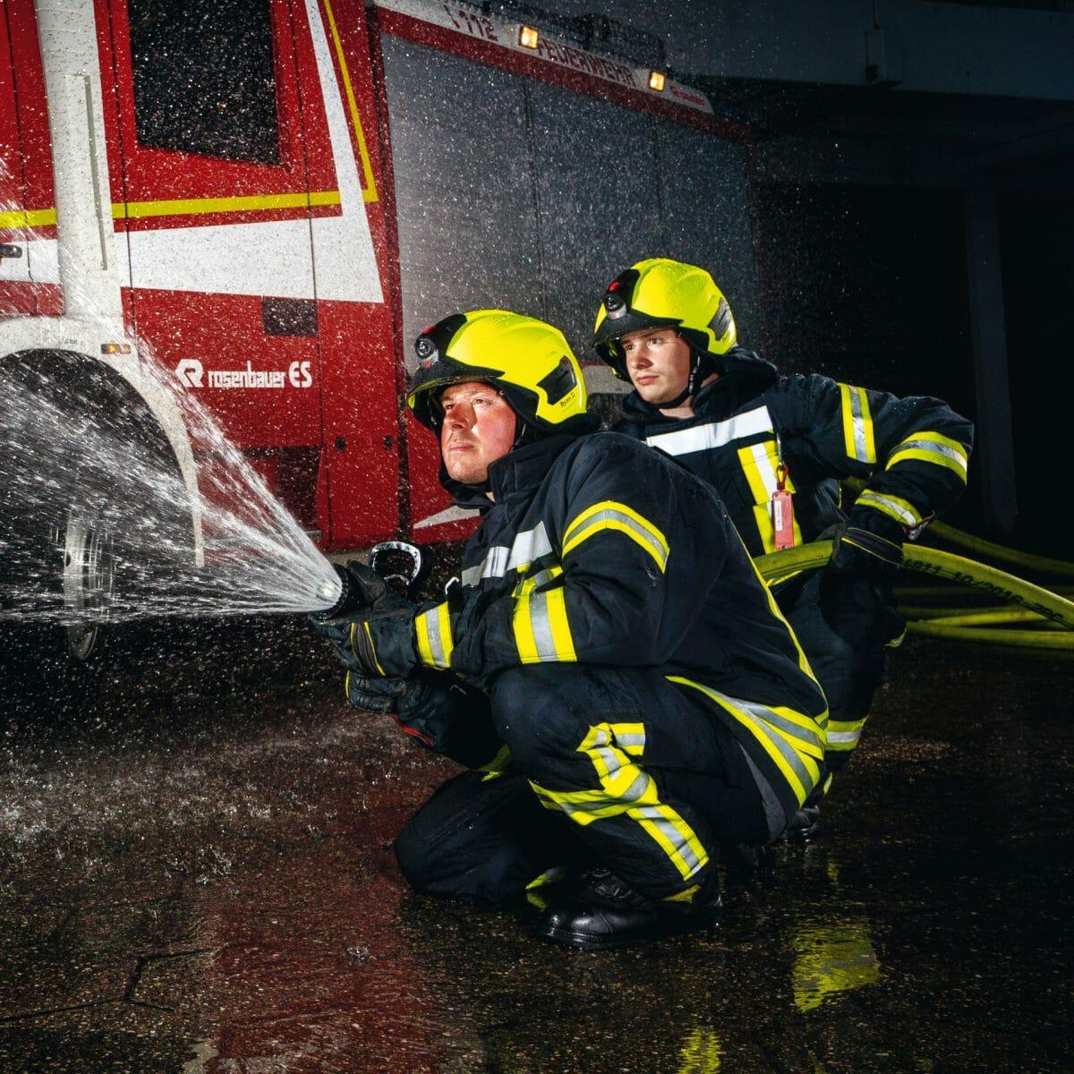 Björn Dreßler bei einer Übung der Freiwilligen Feuerwehr Norderney